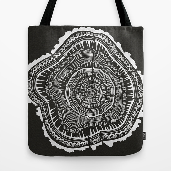 Growth Rings in Black  • tote bag $18–$22