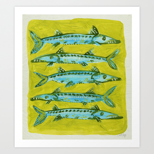 Barracuda on Yellow   •  art print $18–$65