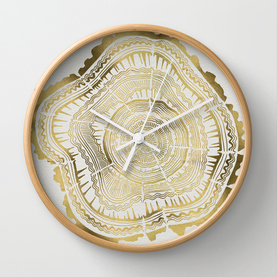 Gold Tree Rings  •  wall clock $30