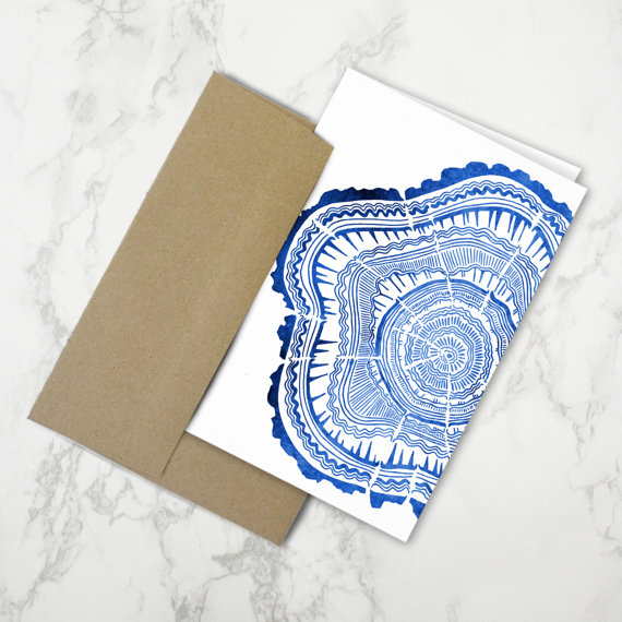 Tree Rings in Navy  •  Stationery Card $4.50