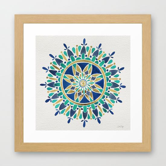 Mandala – Gold & Turquoise • framed art print $35–$135