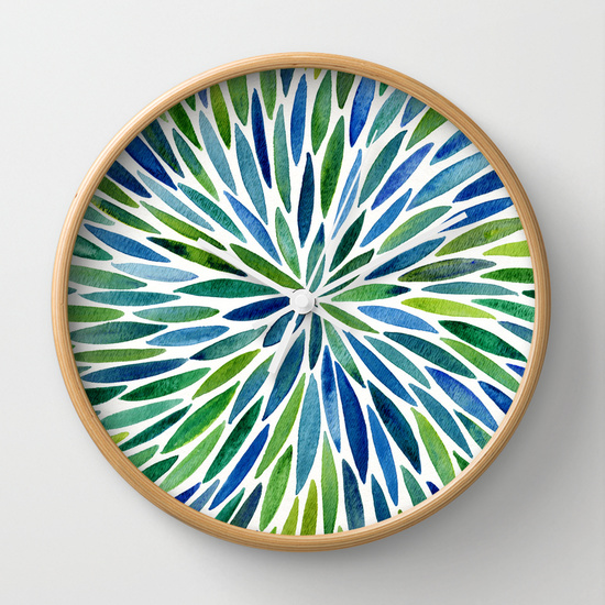 Watercolor Burst – Blue & Green  •  wall clock $30