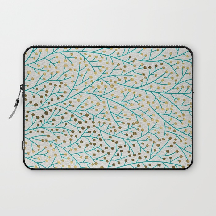 Berry Branches – Turquoise & Gold   •  laptop sleeve $36–$39