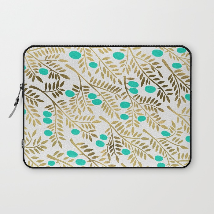 Gold & Turquoise Olive Branches   •  laptop sleeve $36–$39
