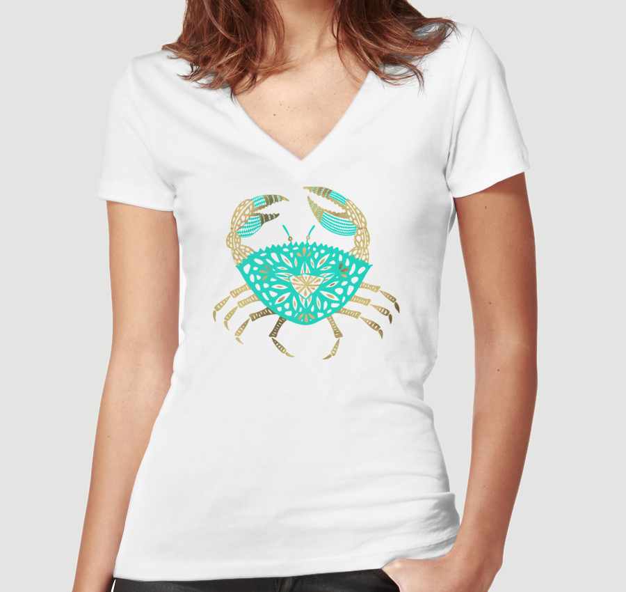 Crab – Turquoise & Gold  •  women's fitted v-neck $30