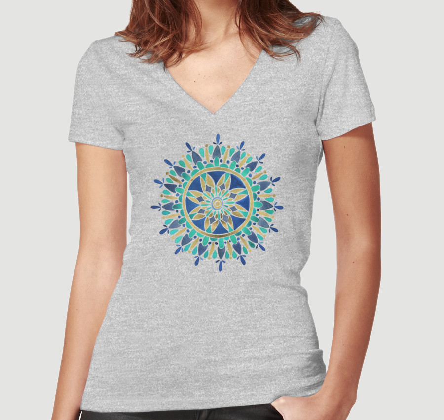 Mandala – Gold & Turquoise  •  women's fitted v-neck $30