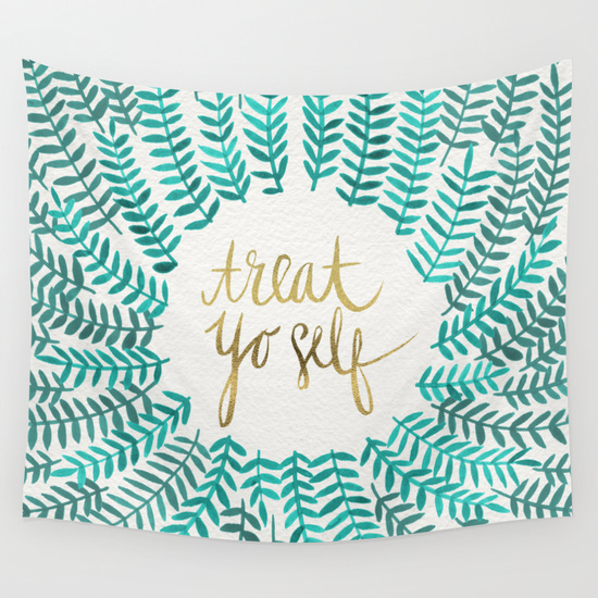 Treat Yo Self – Gold & Turquoise   • wall tapestry $39–$79