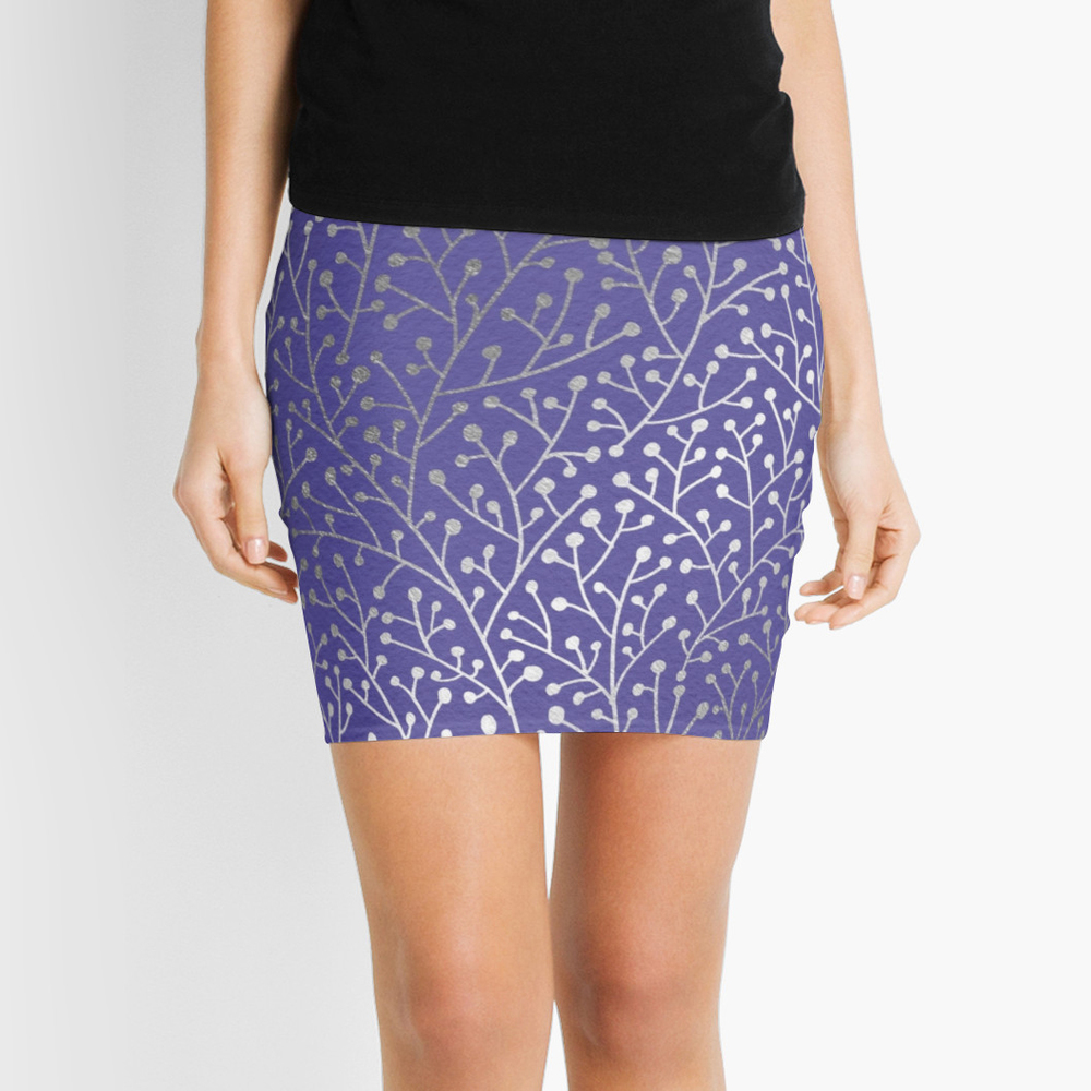Silver Berry Branches on Periwinkle  •  pencil skirt $35