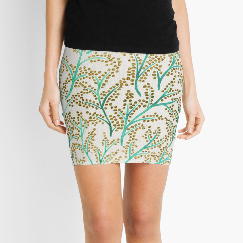 Green & Gold Branches  •  pencil skirt $35