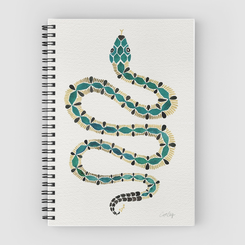 Emerald & Gold Serpent   •  spiral notebook $13