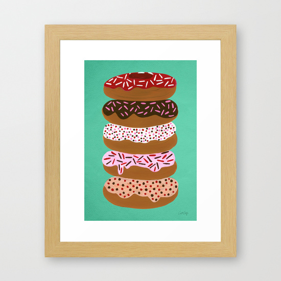 Stacked Donuts on Mint  •  framed art print $35–135