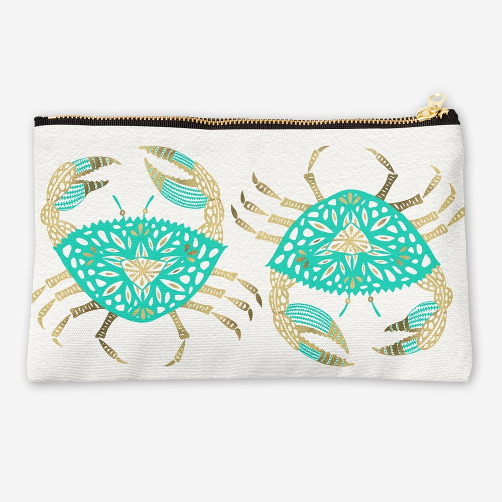 Crab – Turquoise & Gold   •  studio pouch $24–$26