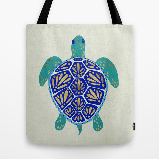 Sea Turtle – Navy & Gold   •  tote bag $18–$24