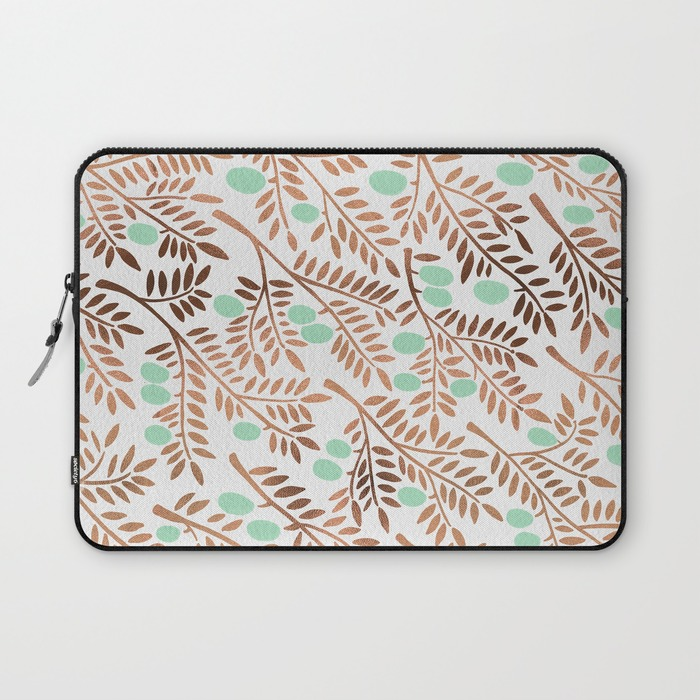 Olive Branches – Mint & Rose Gold   •  laptop sleeve $36–$39