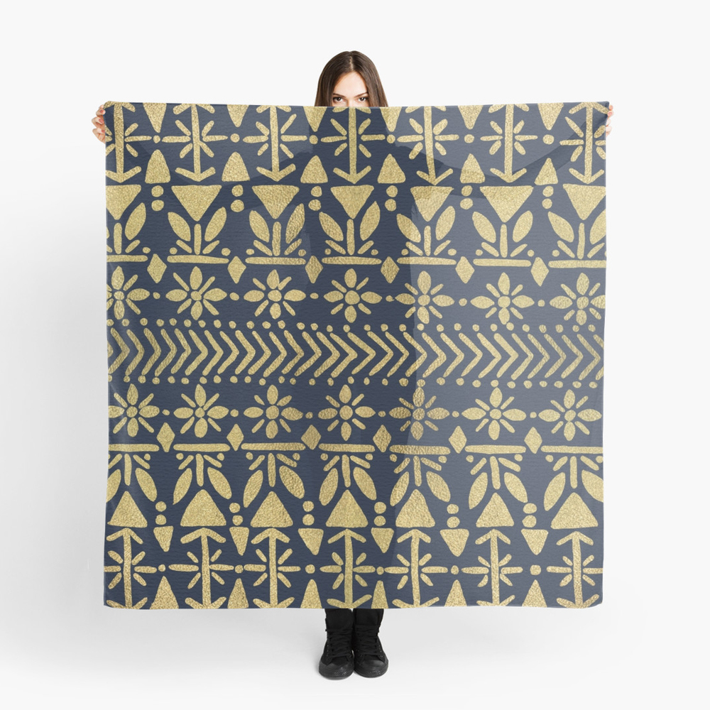 Norwegian Pattern – Gold & Navy   •  scarf $35