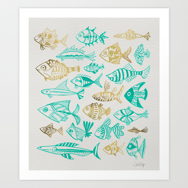 Inked Fish – Turquoise & Gold   •  art print $18–$24
