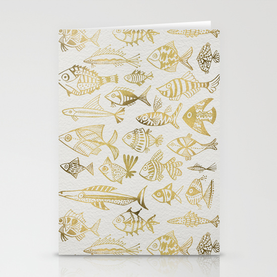 Gold-Inked Fish   •  stationery card set $12–$20