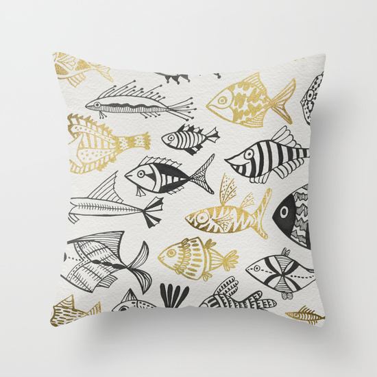 Inked Fish – Black & Gold  •  throw pillow $20–$35