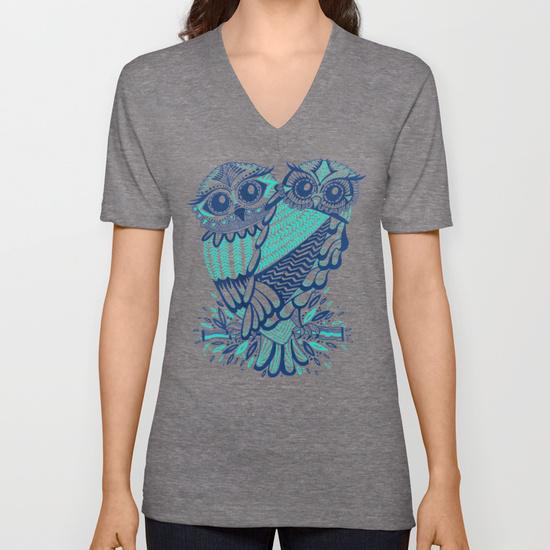 Owls – Turquoise & Navy • unisex v-neck $24