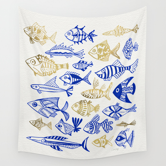 Inked Fish – Navy & Gold   •  wall tapestry $39–$79