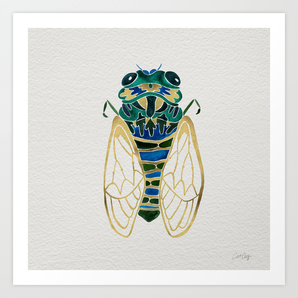 Green & Gold Cicada  •  art print $18–$65
