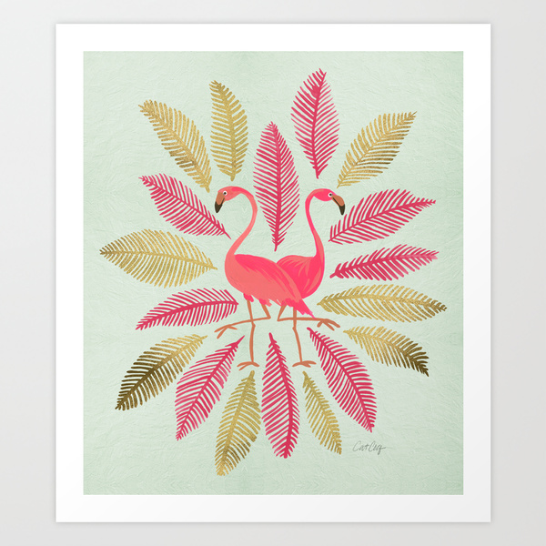 Pink & Gold Flamingos   •  art print $18–$65