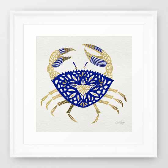 Crab – Navy & Gold  •  framed art print $35–$135