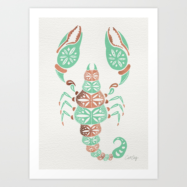 Scorpion – Mint & Rose Gold  •  art print $18–35