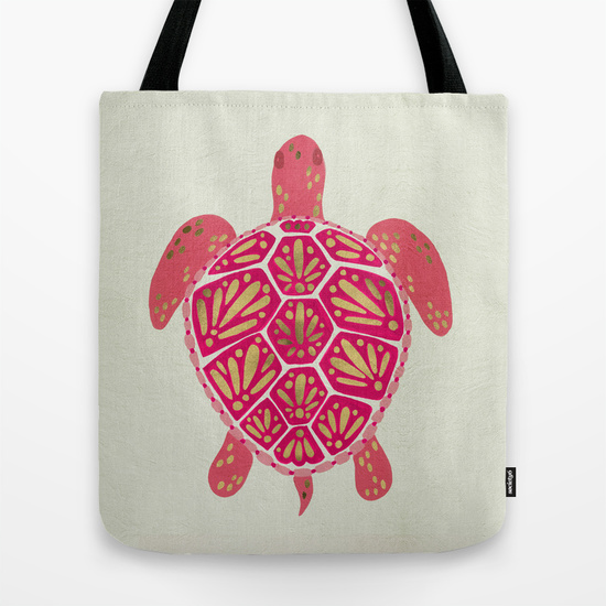 Sea Turtle – Pink & Gold   •  tote bag $18–$24