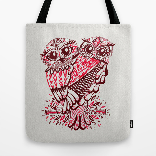 Owls – Maroon & Pink   • tote bag $18–$24