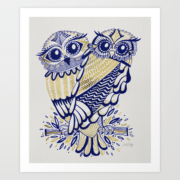 Owls – Navy & Gold  •  art print $18–$65