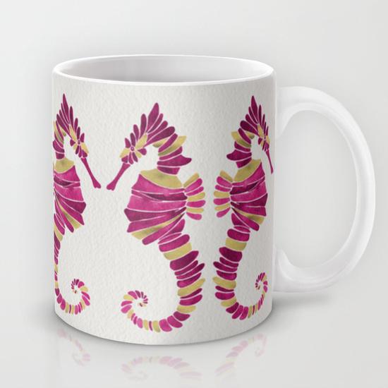 Seahorse – Pink & Gold • mug $15–$18