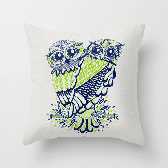 Owls – Navy & Lime  •  throw pillow $20–$35