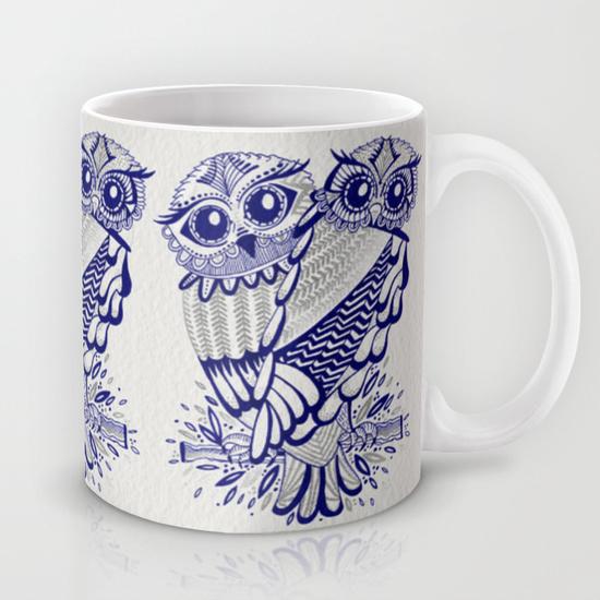Owls – Silver & Navy  • mug $15–$18