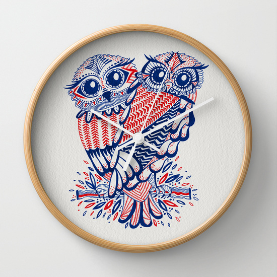 Owls – Red & Navy   •  wall clock $30