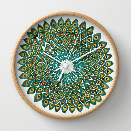 Peacock Mandala  •  wall clock $30