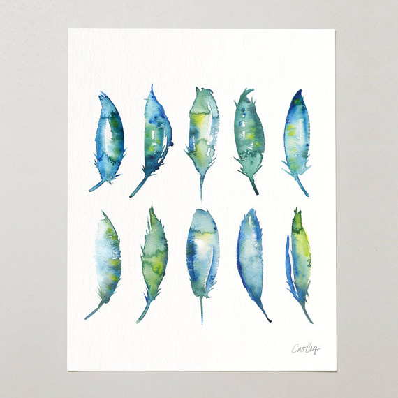 Watercolor Feathers   •  art print $15