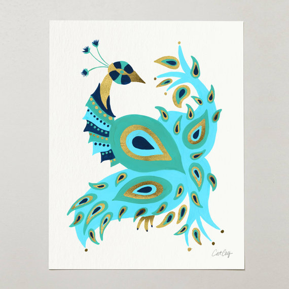 Peacock – Turquoise & Gold   •  art print $15