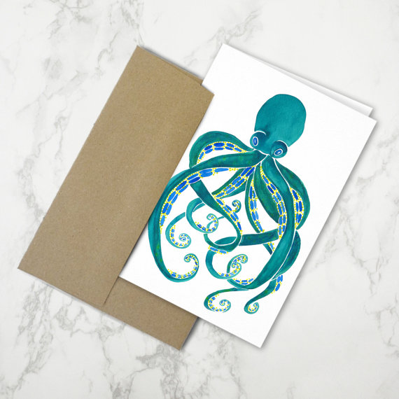 Octopus Watercolor   •  stationery card $4.50