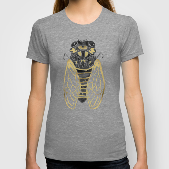 Cicada – Black & Gold  •  women's fitted tee $22