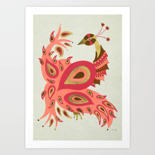 Peacock – Pink & Rose Gold •  art print $18–$35