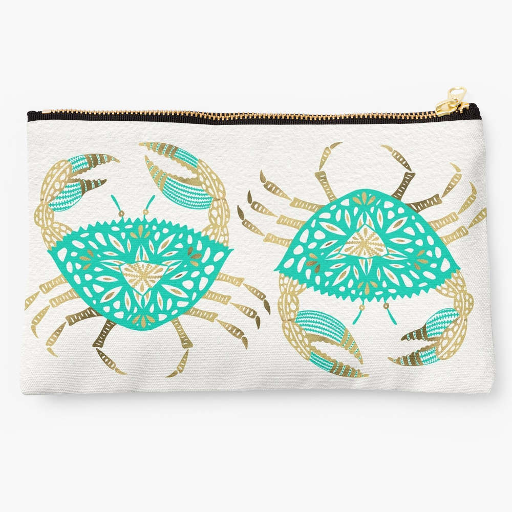 Turquoise & Gold Crab   •  studio pouch $24