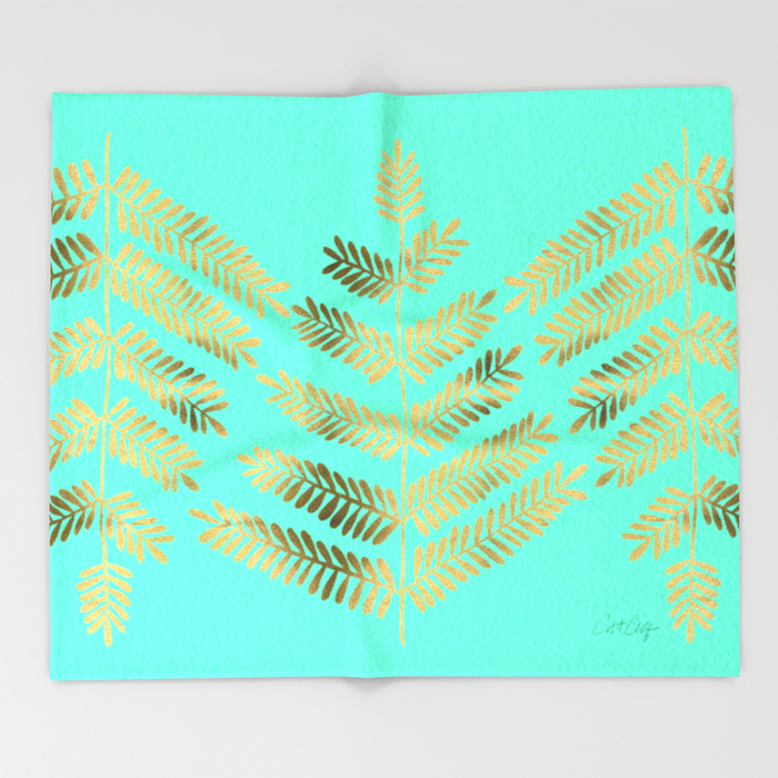 Leaflets – Turquoise & Gold   •  Throw Blanket $49–$129