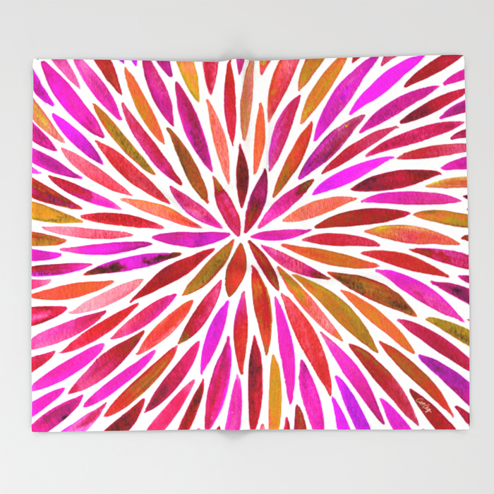 Pink Watercolor Burst   •  throw blanket $49–$129