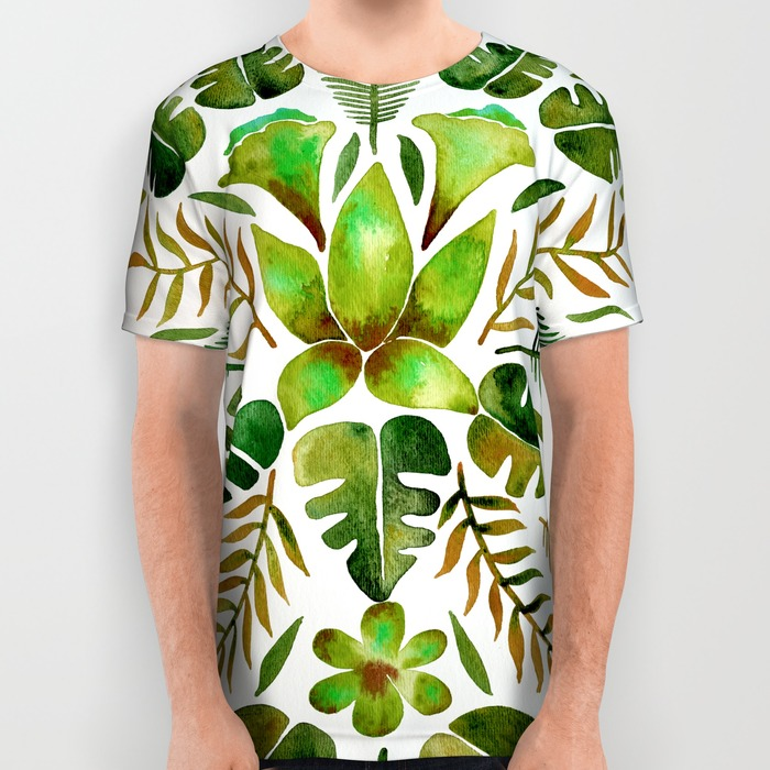 Tropical Symmetry – Olive Green  •  all-over print shirt $34