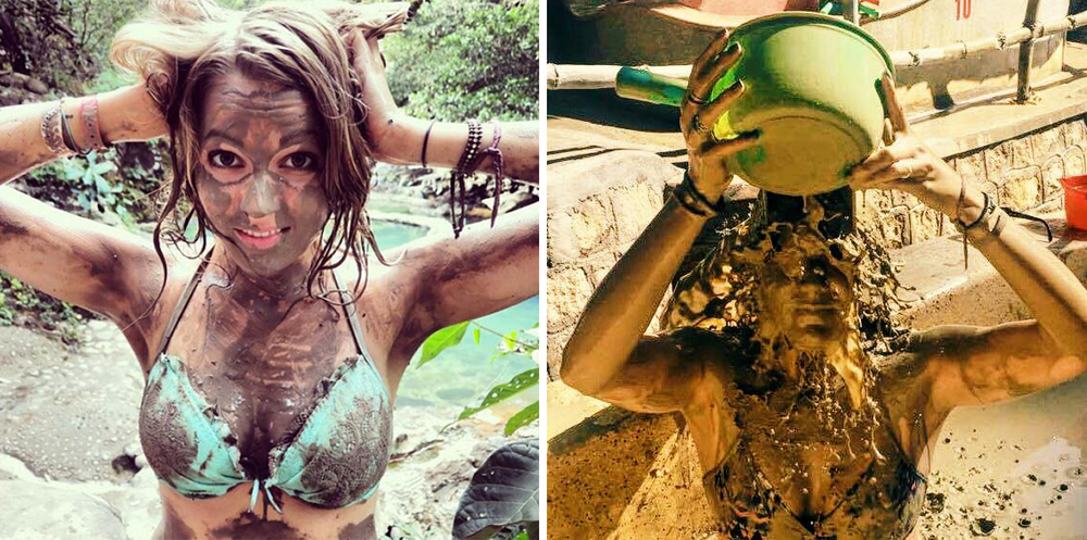 Mud baths: expectations VS reality. (Left = me in Costa Rica. Right = me in Vietnam.)