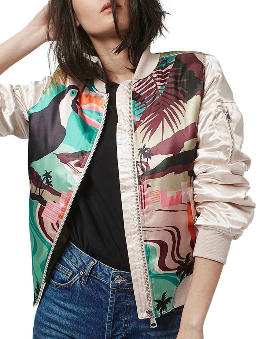 'Rio Parrot' MA1 Bomber Jacket  • Topshop