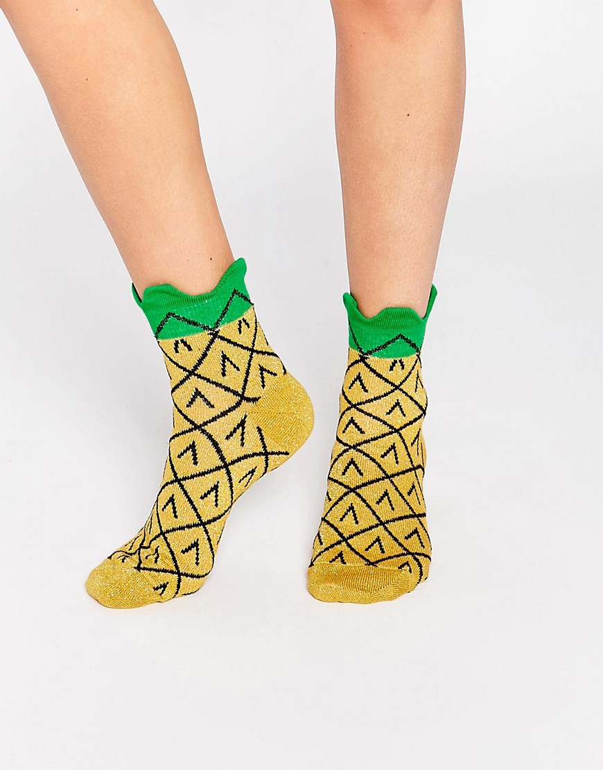 3D Welt Glittery Pineapple Ankle Socks   •  ASOS