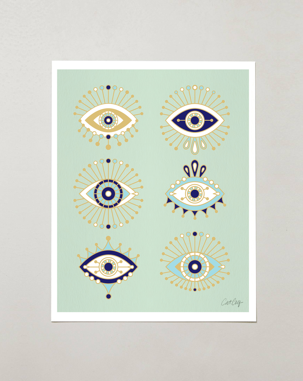 Mint Evil Eye Collection art prints available  here .