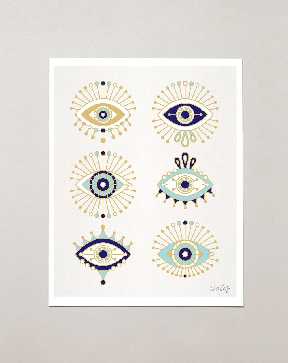 White Evil Eye Collection art prints available  here .